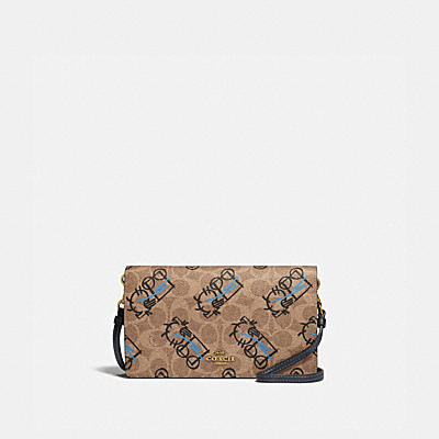 HAYDEN FOLDOVER CROSSBODY IN SIGNATURE CANVAS WITH ABSTRACT HORSE AND CARRIAGE