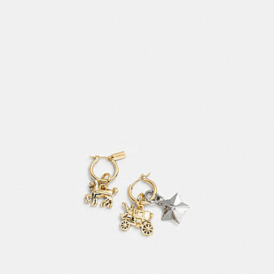 FACETED STAR HORSE AND CARRIAGE CHARM HOOP EARRING SET