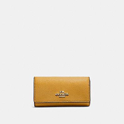 コーチ COACHの財布&革小物 |6 リング キー ケース クロスグレイン レザー