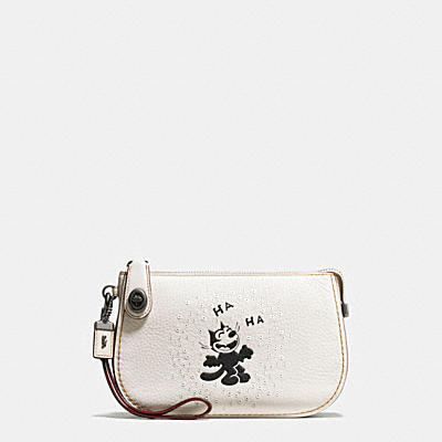 FELIX LAUGHING TURNLOCK POUCH IN PEBBLE LEATHER