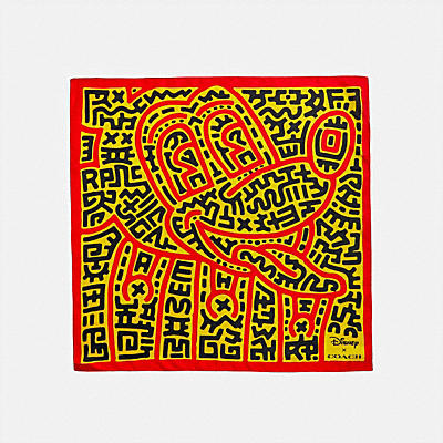DISNEY MICKEY MOUSE X KEITH HARING SILK BANDANA