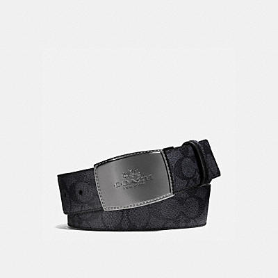 STITCHED PLAQUE CUT-TO-SIZE REVERSIBLE BELT IN SIGNATURE CANVAS