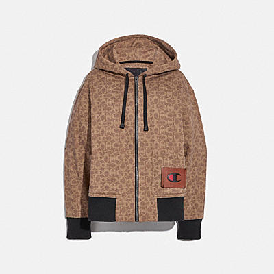 COACH X CHAMPION SUPER FLEECE SIGNATURE ZIP HOODIE