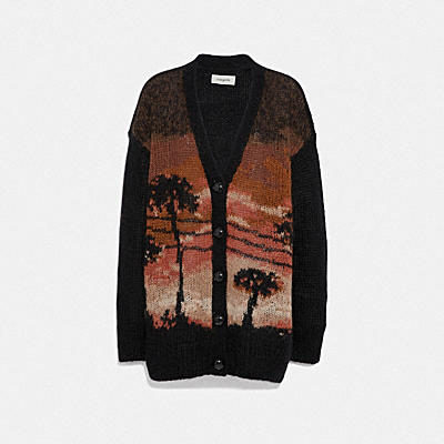 PALM TREE INTARSIA CARDIGAN