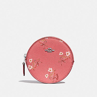 ROUND COIN CASE WITH FLORAL BOW PRINT