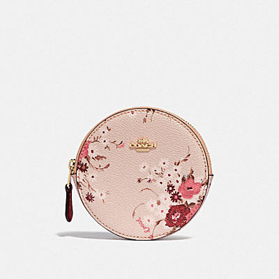 ROUND COIN CASE WITH FLORAL BUNDLE PRINT