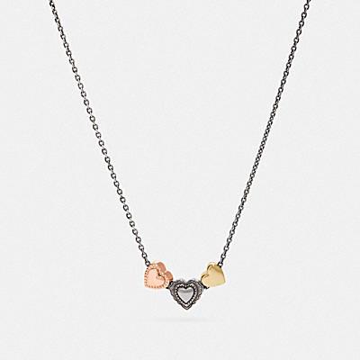 荷葉裝飾愛心束繩項鍊