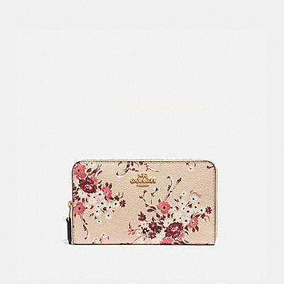 MEDIUM ZIP AROUND WALLET WITH FLORAL BUNDLE PRINT