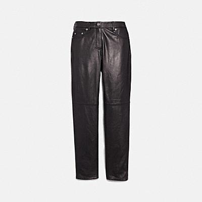 五個口袋皮革牛仔褲
