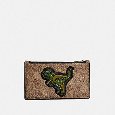 ZIP CARD CASE IN SIGNATURE CANVAS WITH REXY