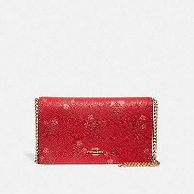 LUNAR NEW YEAR CALLIE FOLDOVER CHAIN CLUTCH WITH FLORAL BOW PRINT