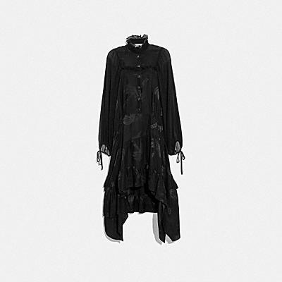 팜 트리 프린트 자카드 드레스