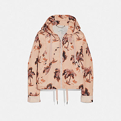 PALM TREE PRINT WESTERN WINDBREAKER