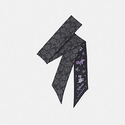 DISNEY X COACH ダルメシアン フローラル プリント スキニー スカーフ