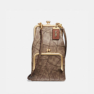 Coated Canvas Signature Patchwork Double Frame Crossbody