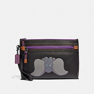 Academy Pouch In Leather Featuring Dumbo