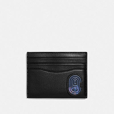 Card Case In Leather Featuring Bubble C Patch