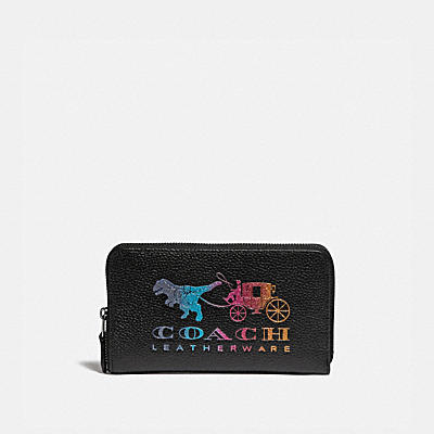MEDIUM ZIP AROUND WALLET WITH REXY AND CARRIAGE
