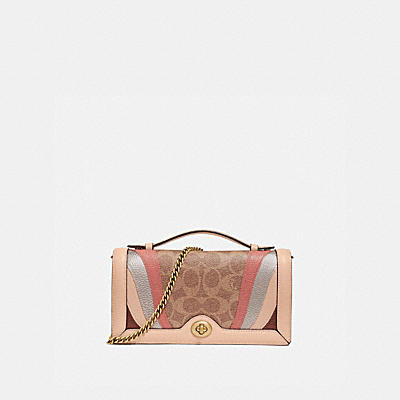 RILEY CHAIN CLUTCH IN SIGNATURE CANVAS WITH WAVE PATCHWORK