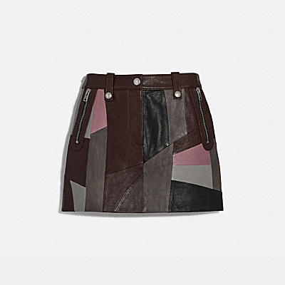 Leather Patchwork Miniskirt