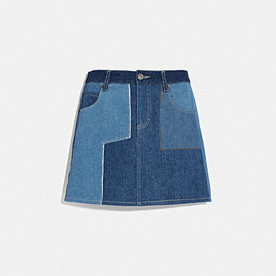 Reconstructed Denim Patchwork Skirt