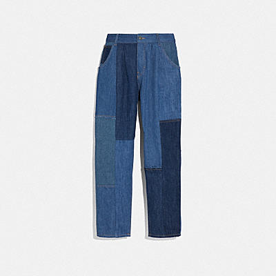Denim Patchwork Pleated Trouser