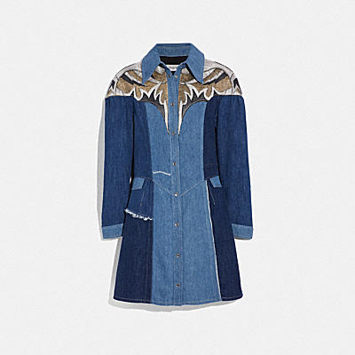RECONSTRUCTED DENIM LEATHER PATCHWORK DRESS