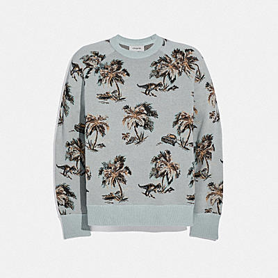 Palm Tree Jacquard Sweater