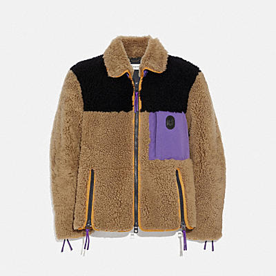 Colorblocked Shearling Jacket