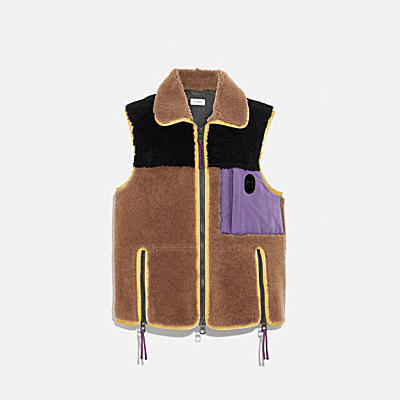 Colorblocked Shearling Vest