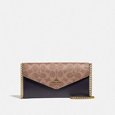 ENVELOPE CHAIN WALLET IN COLORBLOCK SIGNATURE CANVAS