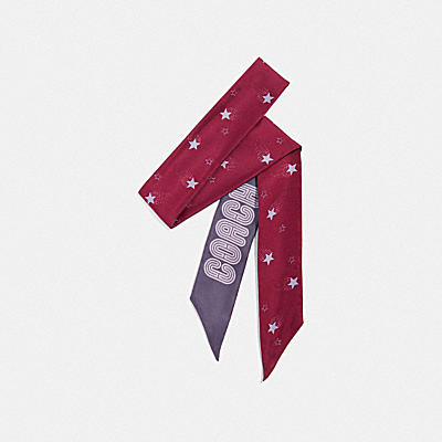 SIGNATURE MAGIC STAR PRINT SILK SKINNY SCARF