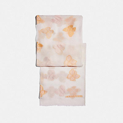 BUTTERFLY PRINT SILK OBLONG SCARF