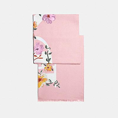 COACH 花卉蝴蝶結印花長方巾