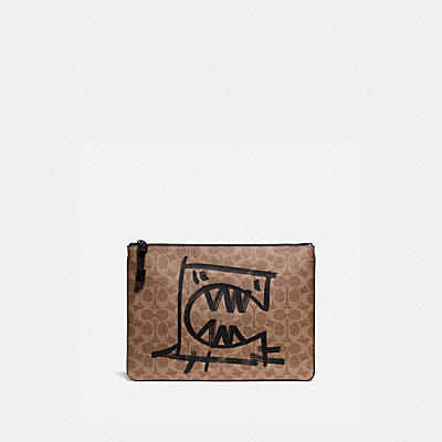 POUCH 30 IN SIGNATURE CANVAS WITH REXY BY GUANG YU