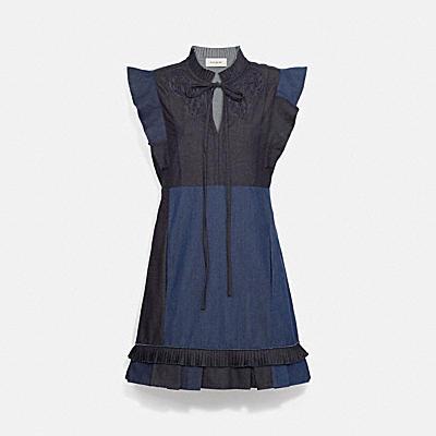 デニム パッチワーク ドレス ウィズ ブロデリー アングレーズ