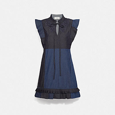DENIM PATCHWPRK DRESS WITH BRODERIE ANGLAISE