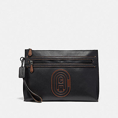 ACADEMY POUCH WITH SIGNATURE CANVAS BLOCKING AND COACH PATCH