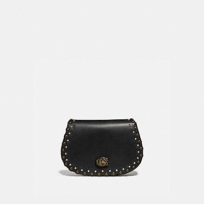 SADDLE BELT BAG WITH SCALLOP RIVETS
