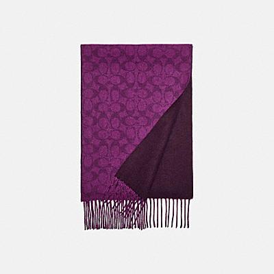 SIGNATURE印花喀什米爾雙面圍巾