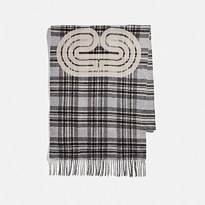 SPORTY PLAID PRINT OVERSIZED MUFFLER