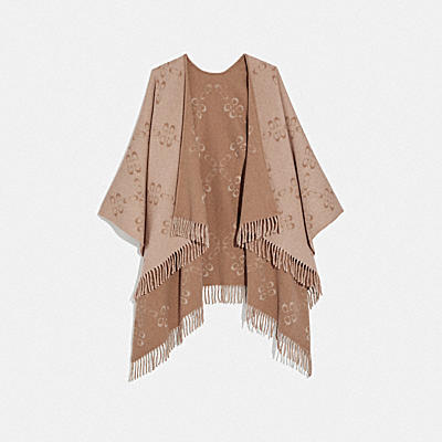REVERSIBLE SIGNATURE MONOGRAM PONCHO