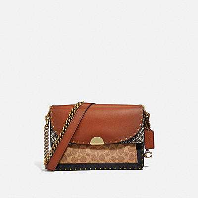DREAMER SHOULDER BAG IN SIGNATURE CANVAS WITH SNAKESKIN DETAIL