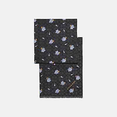 SIGNATURE FLOATING LEAVES PRINT OBLONG SCARF