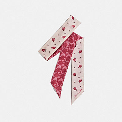 SIGNATURE FLOATING LEAVES PRINT SILK SKINNY SCARF