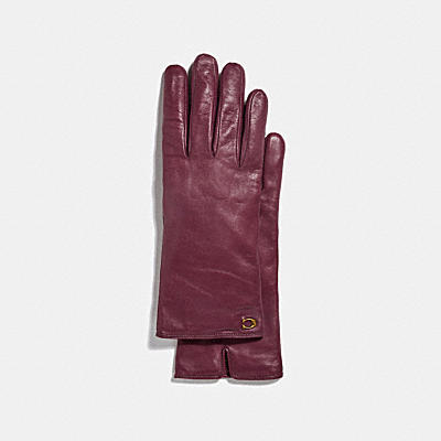 SCULPTED SIGNATURE LEATHER TECH GLOVES