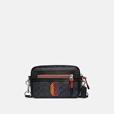 ACADEMY CROSSBODY IN SIGNATURE CANVAS WITH VARSITY ZIPPER AND COACH PATCH