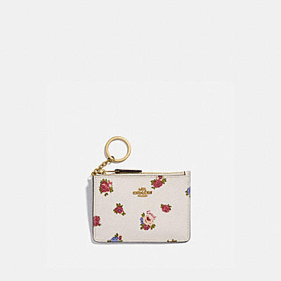 MINI SKINNY ID CASE WITH VINTAGE ROSEBUD PRINT
