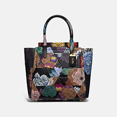 TROUPE TOTE IN SIGNATURE CANVAS WITH PATCHWORK KAFFE FASSETT PRINT