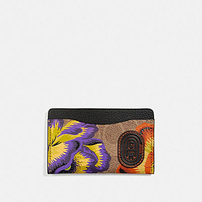 SMALL CARD CASE IN SIGNATURE CANVAS WITH KAFFE FASSETT PRINT